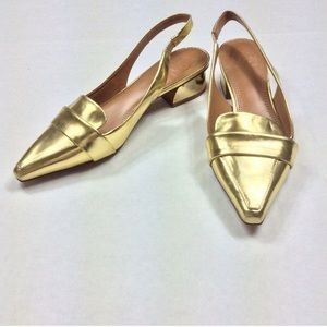 Tory Burch Vintage Gold Leather Slingbacks 5